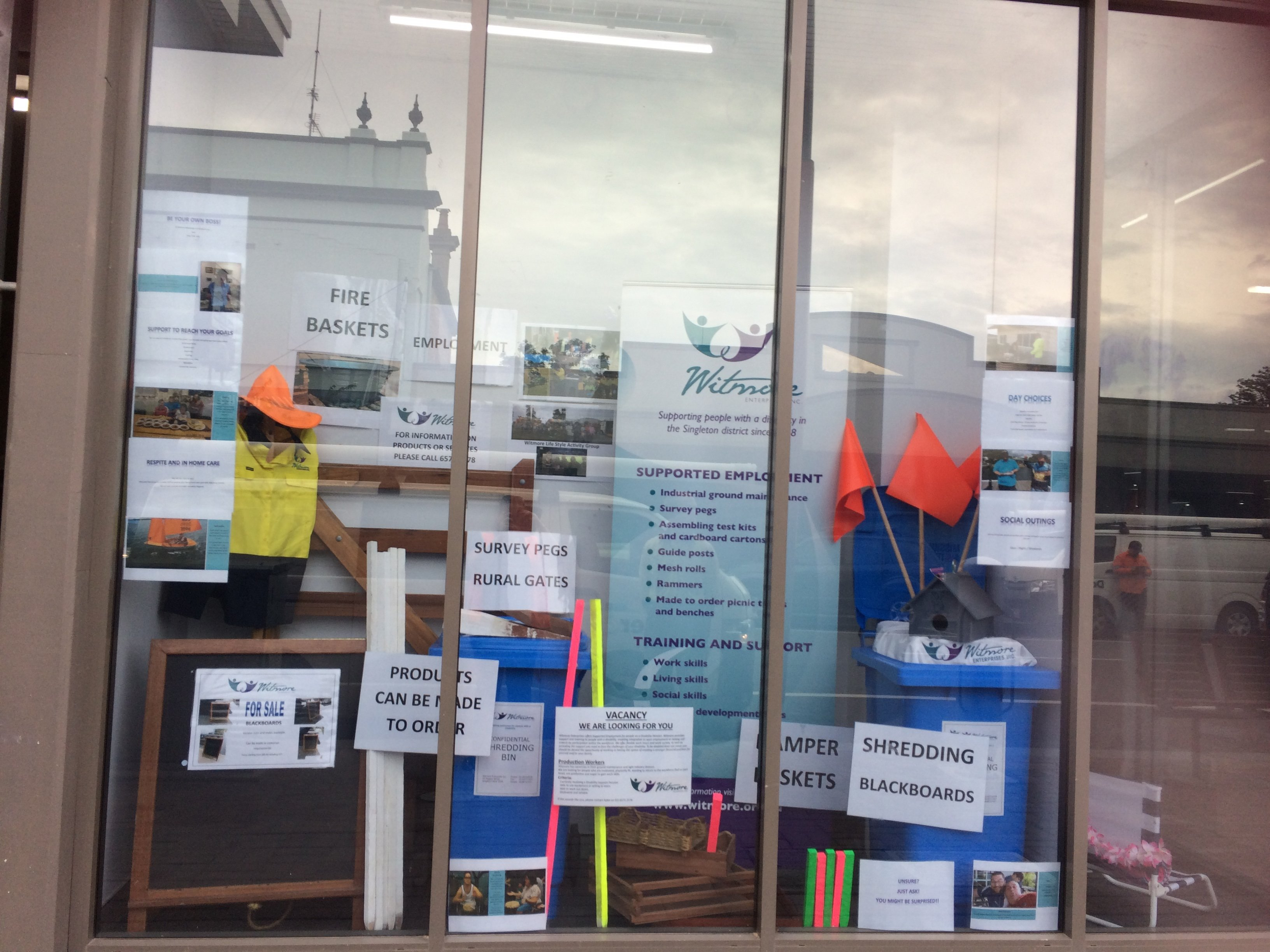 Have a look at the Witmore Enterprises window display in the mall windows on John Street. Aimee has put together a wonderful display of the services and products we offer at Witmore Enterprises. For more information call us on (02) 6572 2578.